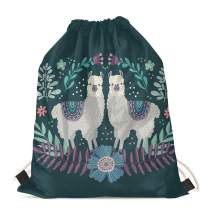 FUIBENG Lovely Llama Flower Animal Print Girls Drawstring Backpack Durable Lightweight Shoulder Cinch Bags Outdoor Sport String Snackpack