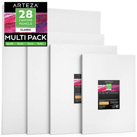 12x12 6x6 Blank Art Canvases for Acrylic /& Oil Painting 12x16 Inch Set of 24 Painting Canvas Panel Multi-Pack 100/% Cotton 8x10