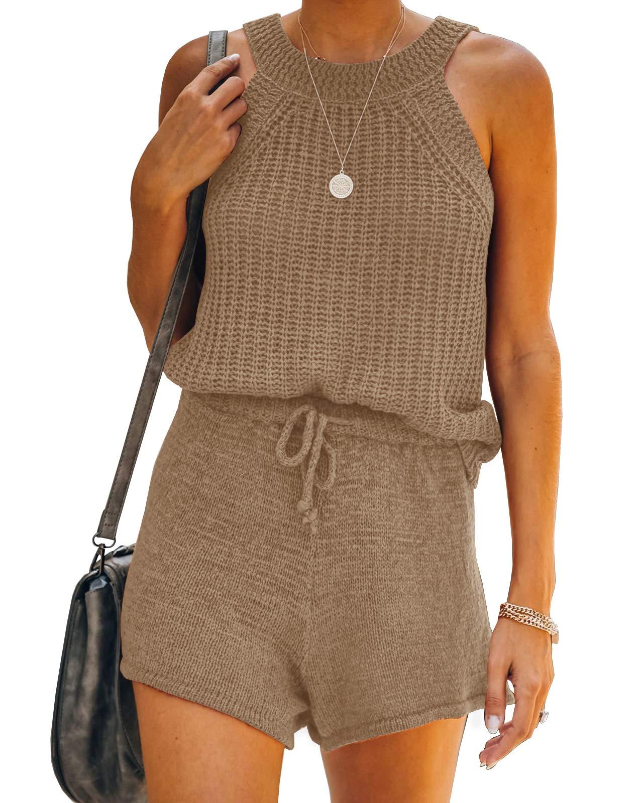 Saodimallsu Womens Two Piece Outfits Summer Halter High Neck Tank Top Ribbed Knit Sleeveless Shirts High Waist Shorts