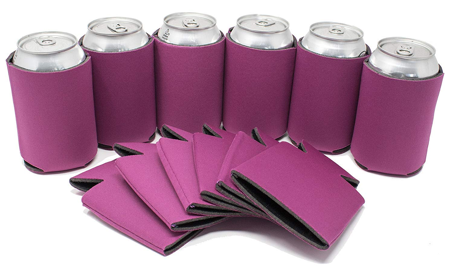 TahoeBay 12 Blank Beer Can Coolers, Plain Bulk Collapsible Soda Cover Coolies, DIY Personalized Sublimation Sleeves for Weddings, Bachelorette Parties, Funny HTV Party Favors (Fuchsia, 12)