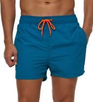 SILKWORLD Men's Slim Swim Shorts with Zipper Pockets Quick Dry Swimsuit Sports Swim Trunks