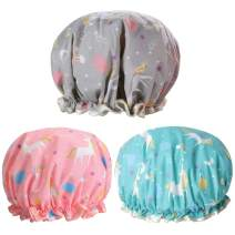 Unicorn Shower Caps, Double Layers Bath Hat for Women to Cover Long and Thick Hair, Reusable Waterproof Bonnet 3 Pack