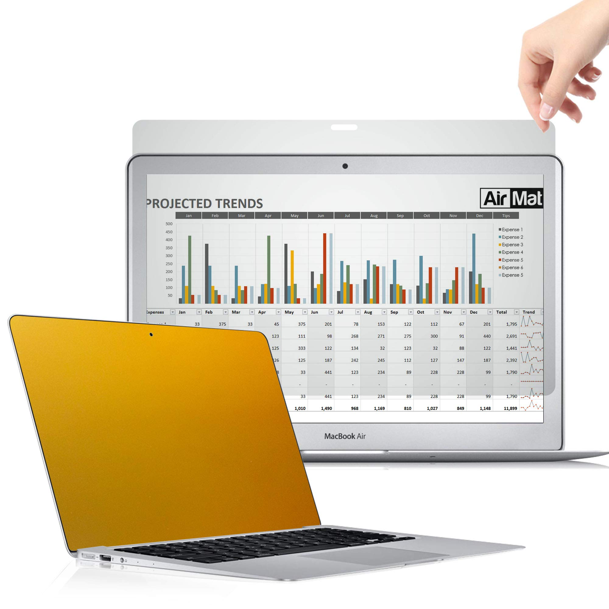 AirMat 13 Inch MacBook Pro Touch Bar Gold Privacy Screen Filter for Model A1708 / A1706 - Premium Anti Glare Protector