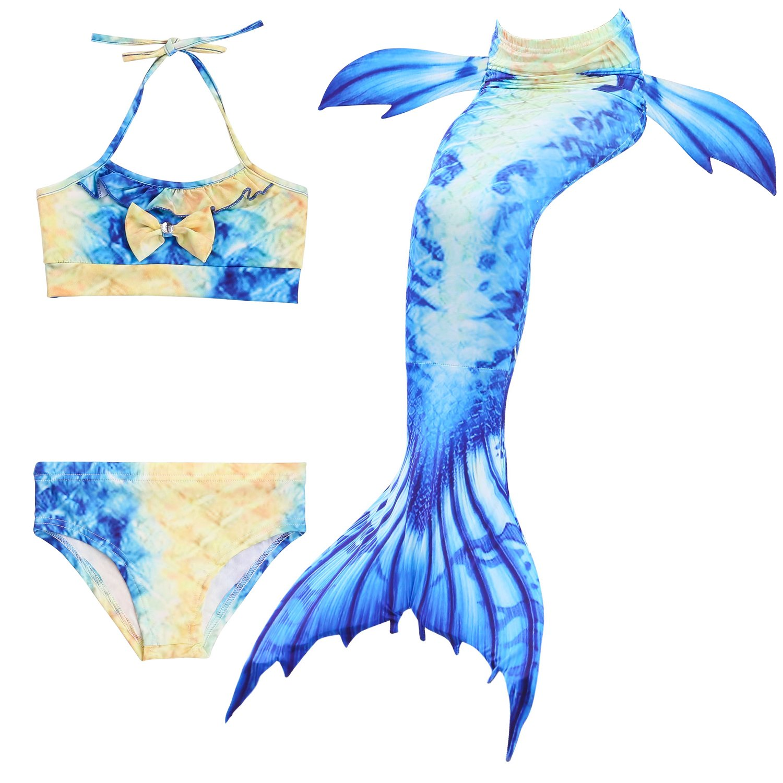 Kokowaii Fancy Girl's Mermaid Tail Swimsuit Bathingsuit Sea-Maid Bikini