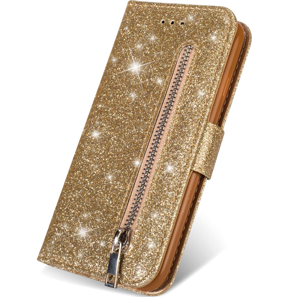 iPhone 11 Bling Wallet Case for Women,Kudex Glitter Sparkle Flip Leather Magnetic Sim Protective Folding Stand Zipper Pocket Purse Wallet Case with Card Holder&Wrist Strap for iPhone 11 2019 (Gold)