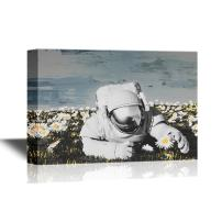 wall26 Canvas Wall Art - Astronaut on The Field with Flowers. - Gallery Wrap Modern Home Decor | Ready to Hang - 16x24 inches