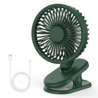 Balhvit Ultra Quiet Stroller Fan Clip-on Fan Rechargeable Battery or USB Operated, Small Desk Fan with 3 Adjustable Speeds, 360° Rotation, Fans Portable for Work Bedroom Home Office Baby Crib