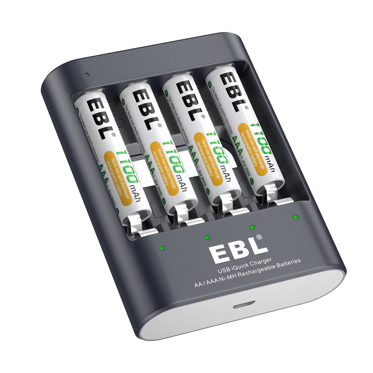 EBL 1100mAh AAA Rechargeable Batteries (4 Counts) with AA AAA Battery Charger, 40min Fast Charging
