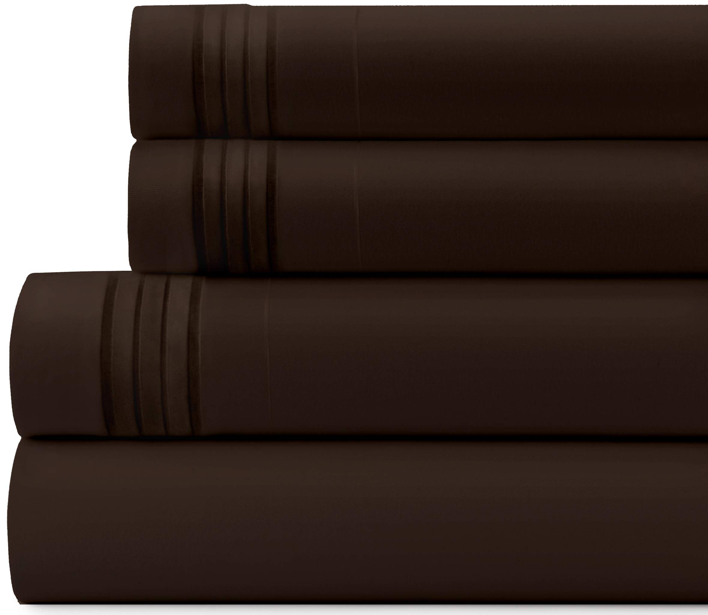 Briarwood Home Bed Sheet Set – Brushed Microfiber 1900 Premium Quality Soft Fabric Breathable Bedding – Deep Pocket – Wrinkle, Fade & Shrinkage Resistant 3 Piece Sheets (Twin-XL/Chocolate)