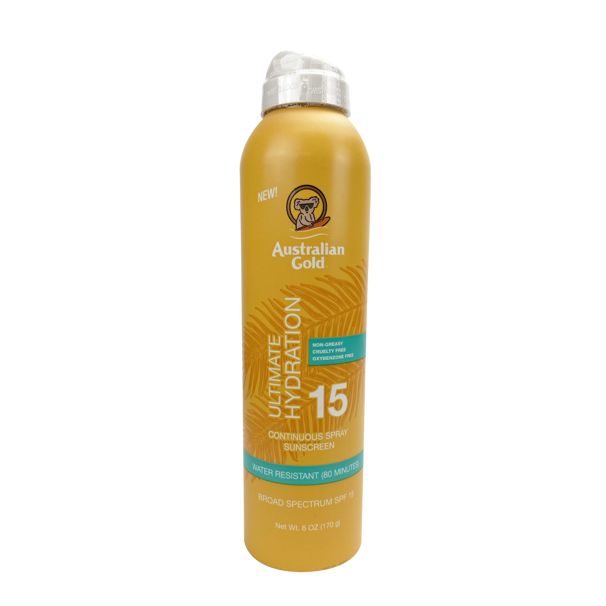Australian Gold Continuous Spray Sunscreen SPF 15, 6 Ounce | Dries Fast | Broad Spectrum | Water Resistant | Non-Greasy | Oxybenzone Free | Cruelty Free