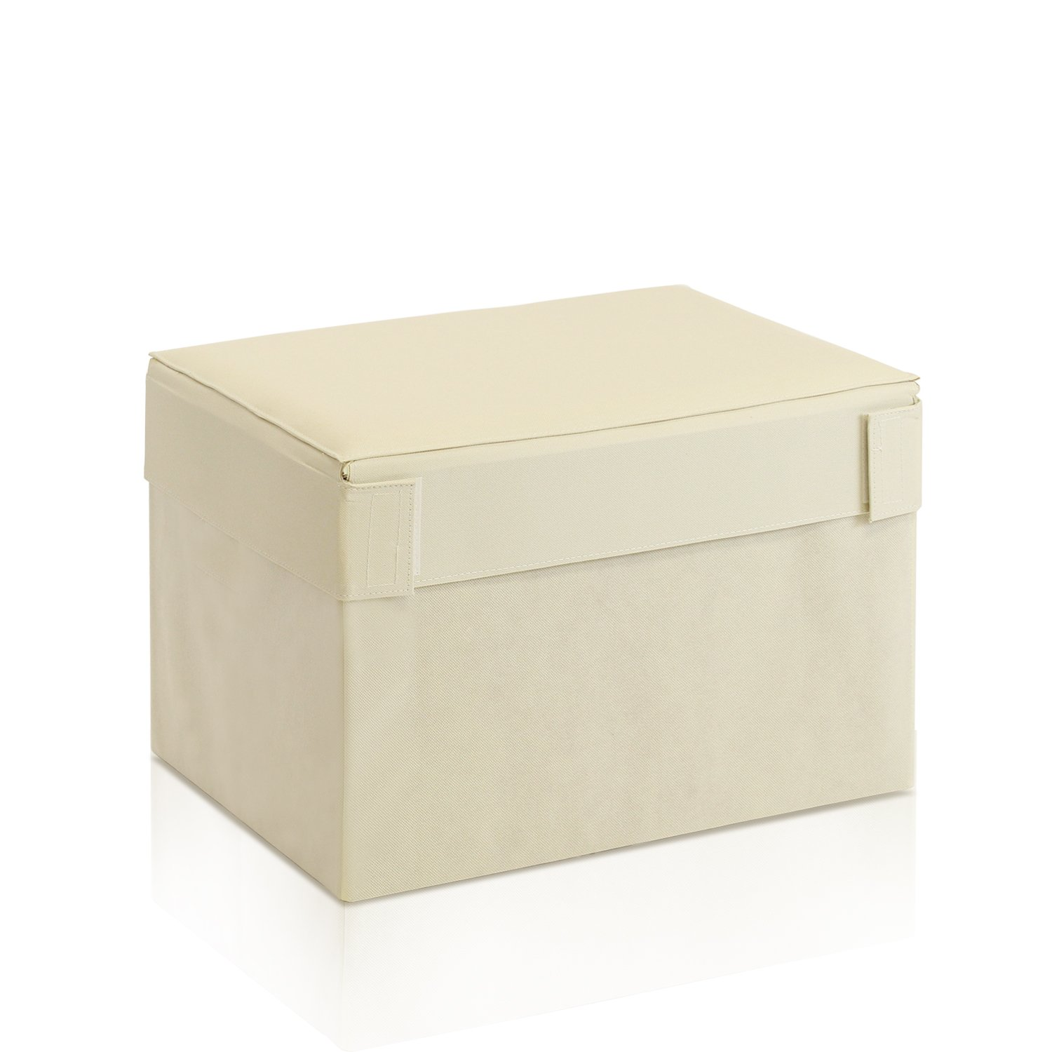 Furinno Oxford Rectangular Foldable Storage Stool Ottoman, Ivory