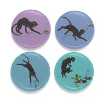 """Buttonsmith Steinlen Cats And Frogs Magnet Set - Set of 4 1.25"""" Magnets - Made in the USA"""