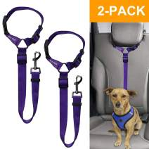 Doggy Car Headrest Restraint - Animal Safety Seat Belt Strap - Adjustable Nylon Fabric Harness for Dog – Easy Vehicle Travel with Pet – Durable Zipline & Tether Backseat for Traveling