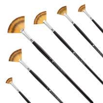 Paint Brush Set Artist Fan Brush Wood Long Hands Painting Brush Set for Oil Paint Acrylic Paint 3 Pcs