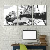 """wall26 - 3 Panel Canvas Wall Art - Black Abstract Splattered Trees Brush Stroke Painting - Giclee Print Gallery Wrap Modern Home Decor Ready to Hang - 24""""x36"""" x 3 Panels"""