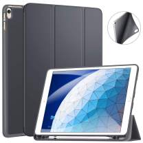 """Ztotop Case for iPad Air 10.5"""" (3rd Gen) 2019/iPad Pro 10.5"""" 2017 with Pencil Holder, Ultra Slim Soft TPU Back and Trifold Stand Cover with Auto Sleep/Wake Full Body Protective Smart Case, Dark Gray"""