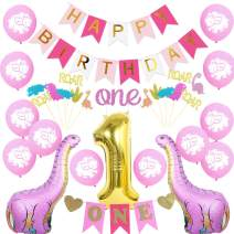 JOYMEMO Dinosaur First Birthday Party Decorations for Girl Pink Dinosaur Balloons One High Chair Banner Cake Topper for Dinosaur 1st Birthday Party Decorations