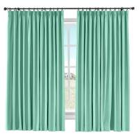 "ChadMade Light Blocking Curtain Panel Cotton Linen Drape Window Treatments Curtain Solid Pinch Pleated Curtain Window Short Curtain, 60"" W x 108"" L (Aqua, 1 Panel)"