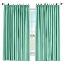 "ChadMade Extra Wide Room Darkening Curtain Solid Pinch Pleated Drape Cotton Linen Curtain Sliding Glass Door Bedroom Living Room, 100"" W x 84"" L (Aqua, 1 Panel)"