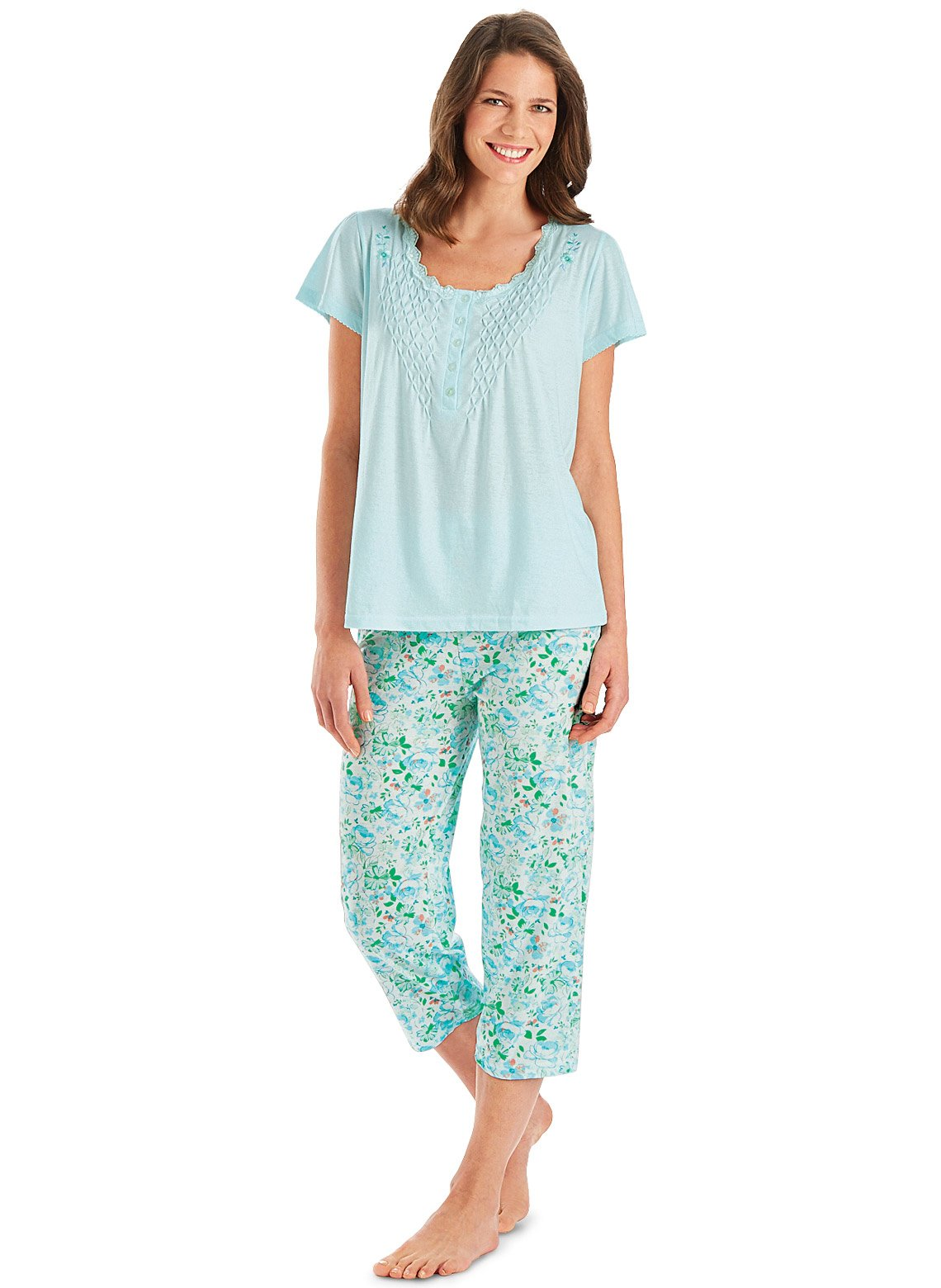 Carol Wright Gifts Pajama Set for Women with Capris - Short Sleeve Sleepwear Pjs Sets Available in Small to 4XL