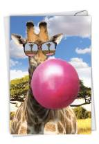 Balloon Animals Giraffe - Adorable Birthday Card with Envelope (4.63 x 6.75 Inch) - Zoo Animal Birthday Appreciation, Gratitude Stationery - Funny Giraffe Greeting Card for Kids and Adults C6837BBDG