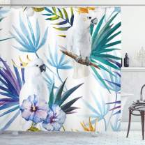 "Ambesonne Tropical Shower Curtain, Watercolor White Parrot Birds on Palm Tree Branches Leaves Exotic Nature Artwork, Cloth Fabric Bathroom Decor Set with Hooks, 70"" Long, White Blue"