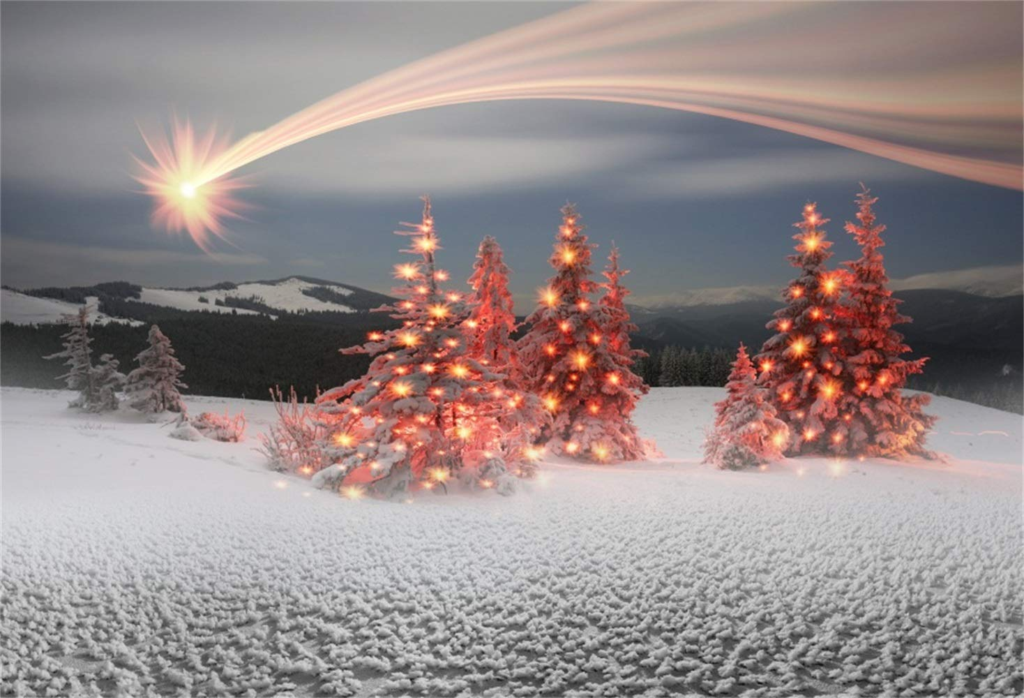 Laeacco Christmas New Year Backdrop Vinyl 7x5ft Dazzling Meteor Snowy Remote Mountains Pine Forest Shiny Xmas Trees White Snowfield Background New Year's Eve Party Banner Child Baby Adult Shoot