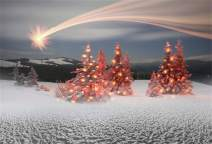 Laeacco Christmas New Year Backdrop Vinyl 8x6.5ft Dazzling Meteor Snowy Remote Mountains Pine Forest Shiny Xmas Trees White Snowfield Background New Year's Eve Party Banner Child Baby Adult Shoot