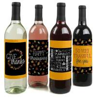 Big Dot of Happiness Give Thanks - Thanksgiving Decorations for Women and Men - Wine Bottle Label Stickers - Set of 4