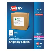 Avery Shipping Address Labels, Laser & Inkjet Printers, 250 Labels, Full Sheet Labels, Permanent Adhesive (95920)