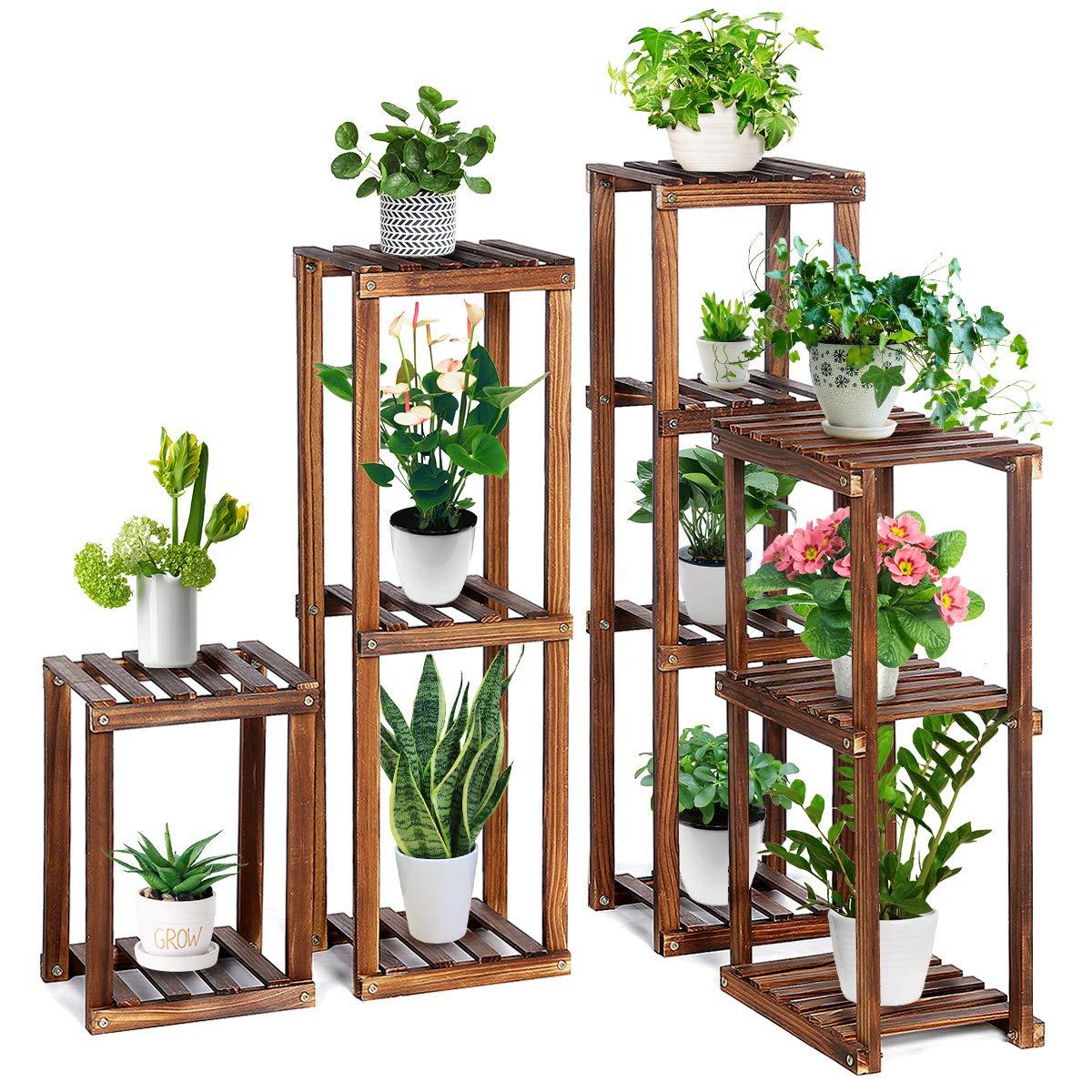 Tooca Wood Plant Stand Indoor 4 Piece Set Flexible Combination Plant Flower Pot Stands Corner Outdoor Plant Display Holder Steady Vertical Carbonized Shelves For Patio Livingroom Balcony Garden