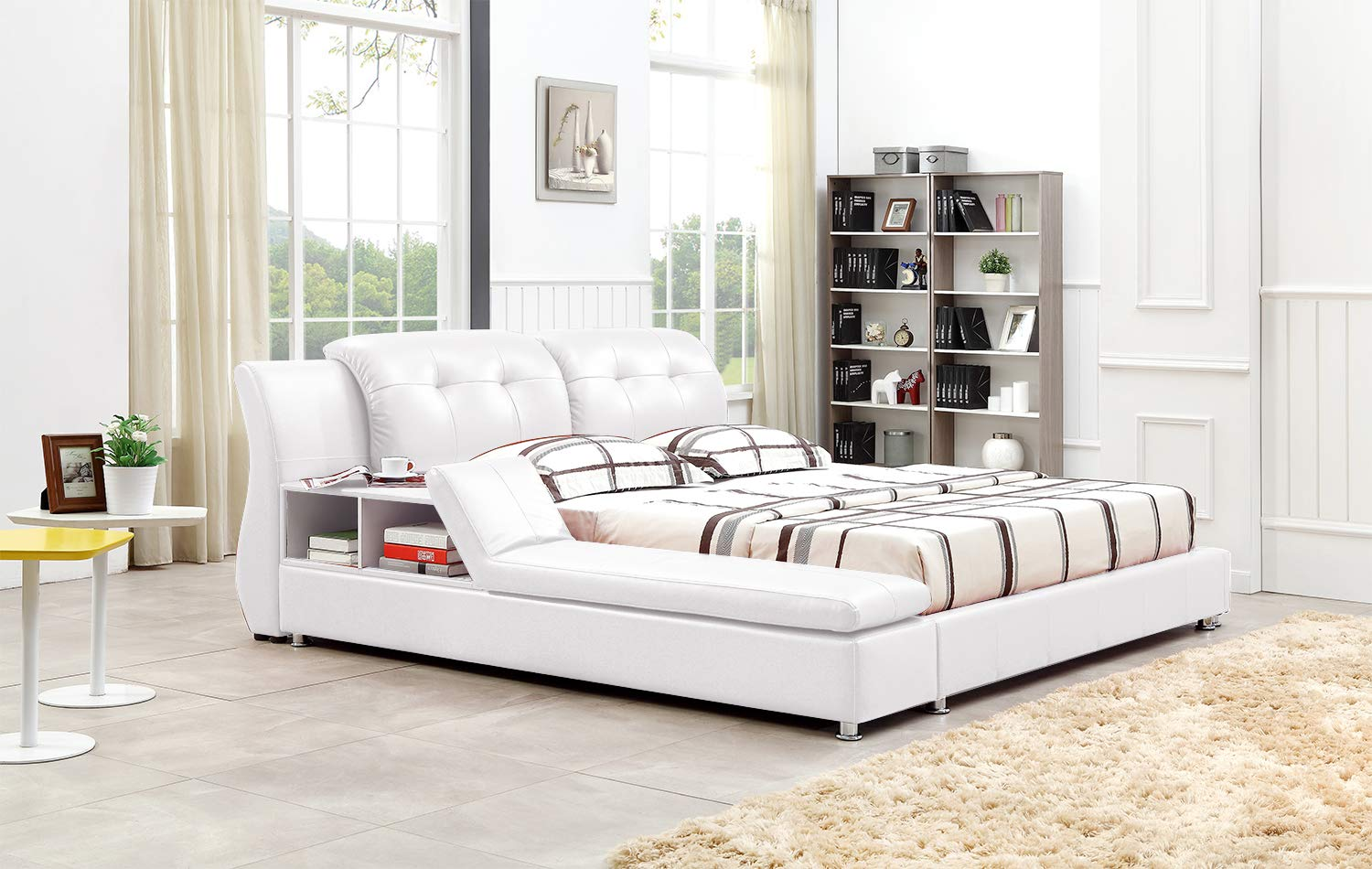 Greatime B2003 Platform Bed (Queen, White)
