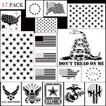 American Flag 50 Star Stencil,Reusable US Star and Map Plastic Stencil Template for Various DIY Drawing Painting Craft Projects(17 Pack)