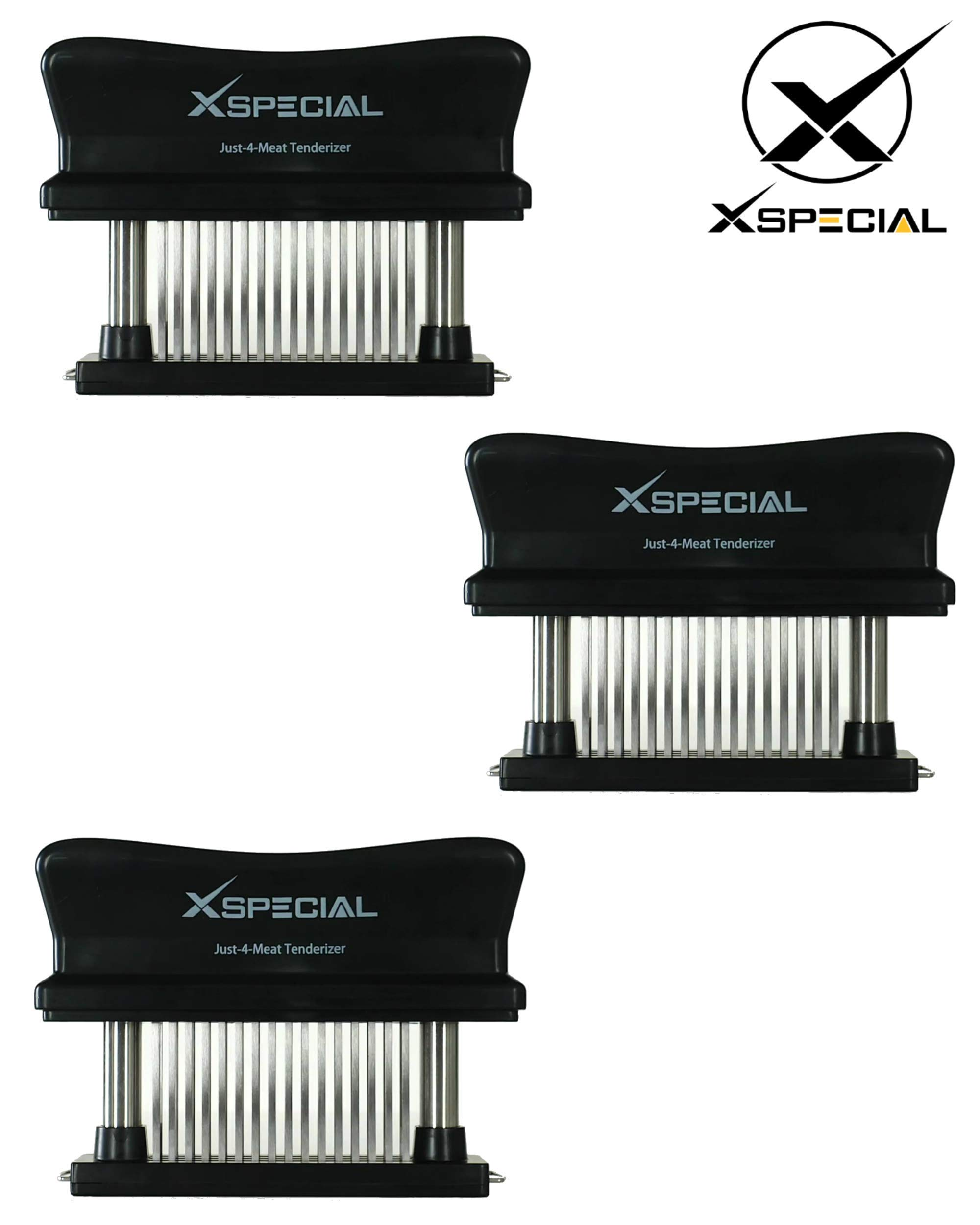 KITCHEN TENDERIZER VALUE PACK > Professional Just-4-Meat Tenderizer By XSpecial - Home Sturdy Gadget for Tenderizing: Steak Beef Poultry (3 Packs,Black 48 Blades Stainless Steel,Individually Boxed)