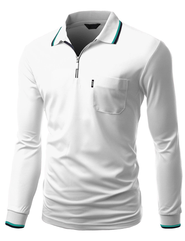 Xpril Men's Basic Style Front Zipper Collar Long Sleeve Polo T-Shirt