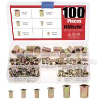 Hilitchi 100 Pcs UNC Rivet Nuts Threaded Insert Nut Assortment Kit, 5/32-32, 8-32, 10-24, 1/4-20, 5/16-18, 3/8-16 UNC Rivnut