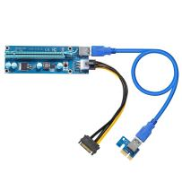 Dr.meter PCI-E Riser Mining Card, VER 006C 16x to 1x Powered Riser Adapter Card w/60cm USB 3.0 Extension Cable & MOLEX to SATA Power Cable GPU Riser Adapter (PCI-E-1 Pack)