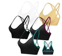 AKAMC Women's Removable Padded Sports Bras Medium Support Workout Yoga Bra 1 Pack