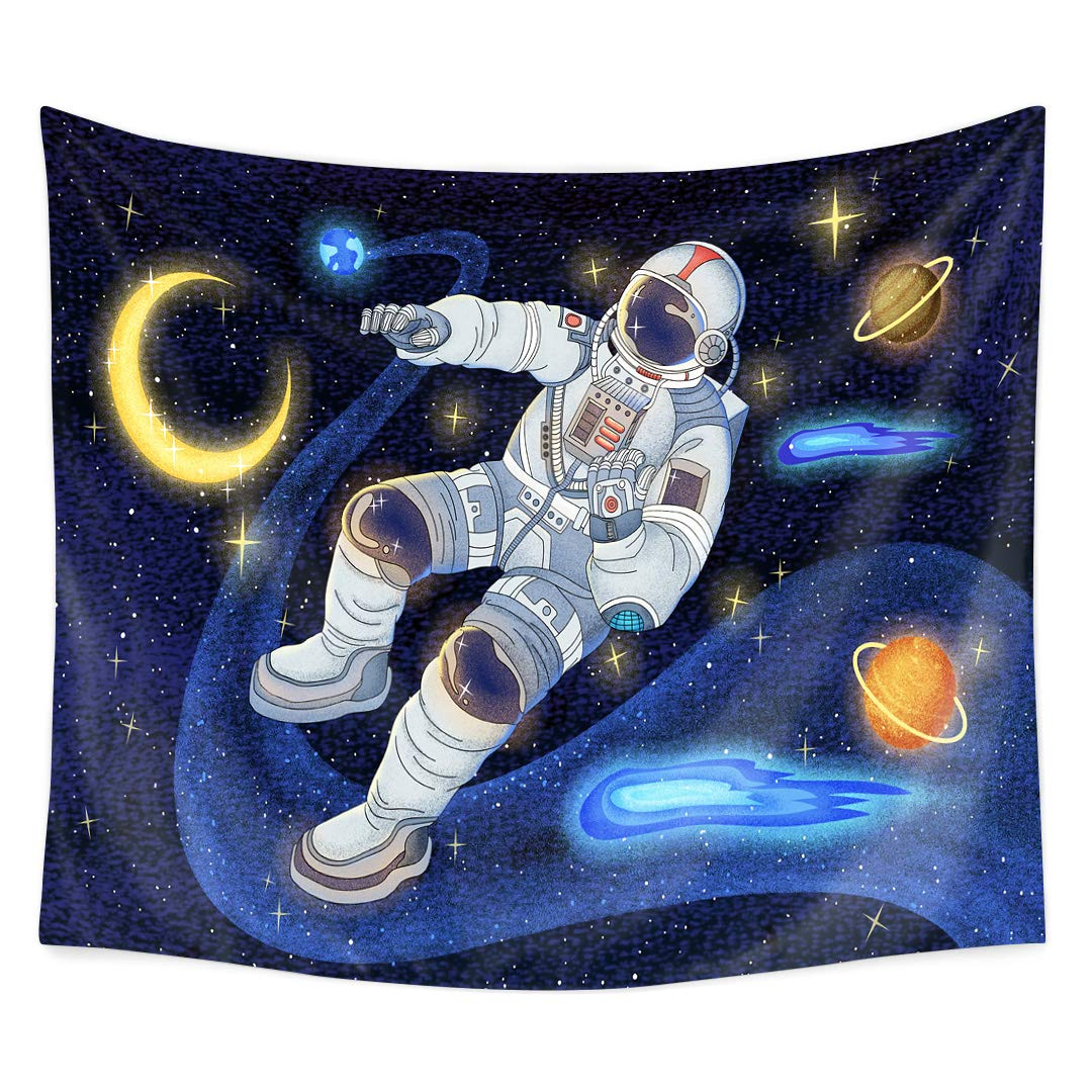 """QCWN Fantasy Galaxy Planet Decor Tapestry, Cool Spaceman Astronaut Starry Art Print Wall Hanging Tapestry for Man & Home Deco(13, 78"""" L59 W) (59"""" L51 W)"""