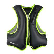DOOHALO Inflatable Snorkel Life Jacket Vest for Adult Men Women Fit 88-220Ibs Swimming Float Vest for Kayak Diving Snorkeling Canoeing Water Sport