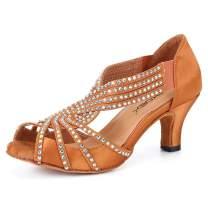 SKOEX Women Rhinestone Ballroom Dance Shoes Latin Salsa Practice Dancer 2.5 inch Heel