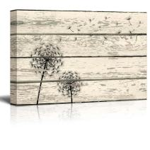 "wall26 Rustic Canvas Prints Wall Art - Dandelion Artwork on Vintage Wood Board Background Stretched Canvas Wrap. Ready to Hang - 32"" x 48"""