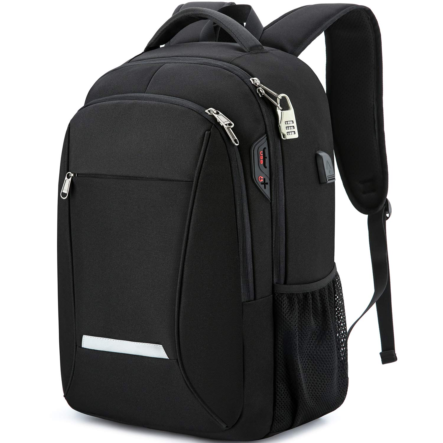XQXA Laptop Backpack, Travel Business Backpack for Men & Women with USB Charging Port, Water Resistant Anti Theft School College Computer Back Pack Bag Fits Up to 17 Inch Notebook - Black