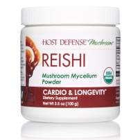 Host Defense, Reishi Mushroom Powder, Supports Energy, Cardiovascular Health and Stress Response, Certified Organic Supplement, 3.5 oz (66 Servings)