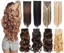 """7Pcs 16 Clips 20-24 Inch Thick Double Weft Full Head Clip in Hair Extensions Curly Straight Wavy Hairpiece 8 colors (24"""" Straight, 2-33 Dark Brown)"""