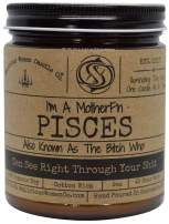 Malicious Women Candle Co - Pisces The Zodiac Bitch - Can See Right Through Your Shit, Lavender & Coconut Water, All-Natural Organic Soy Candle, 9 oz