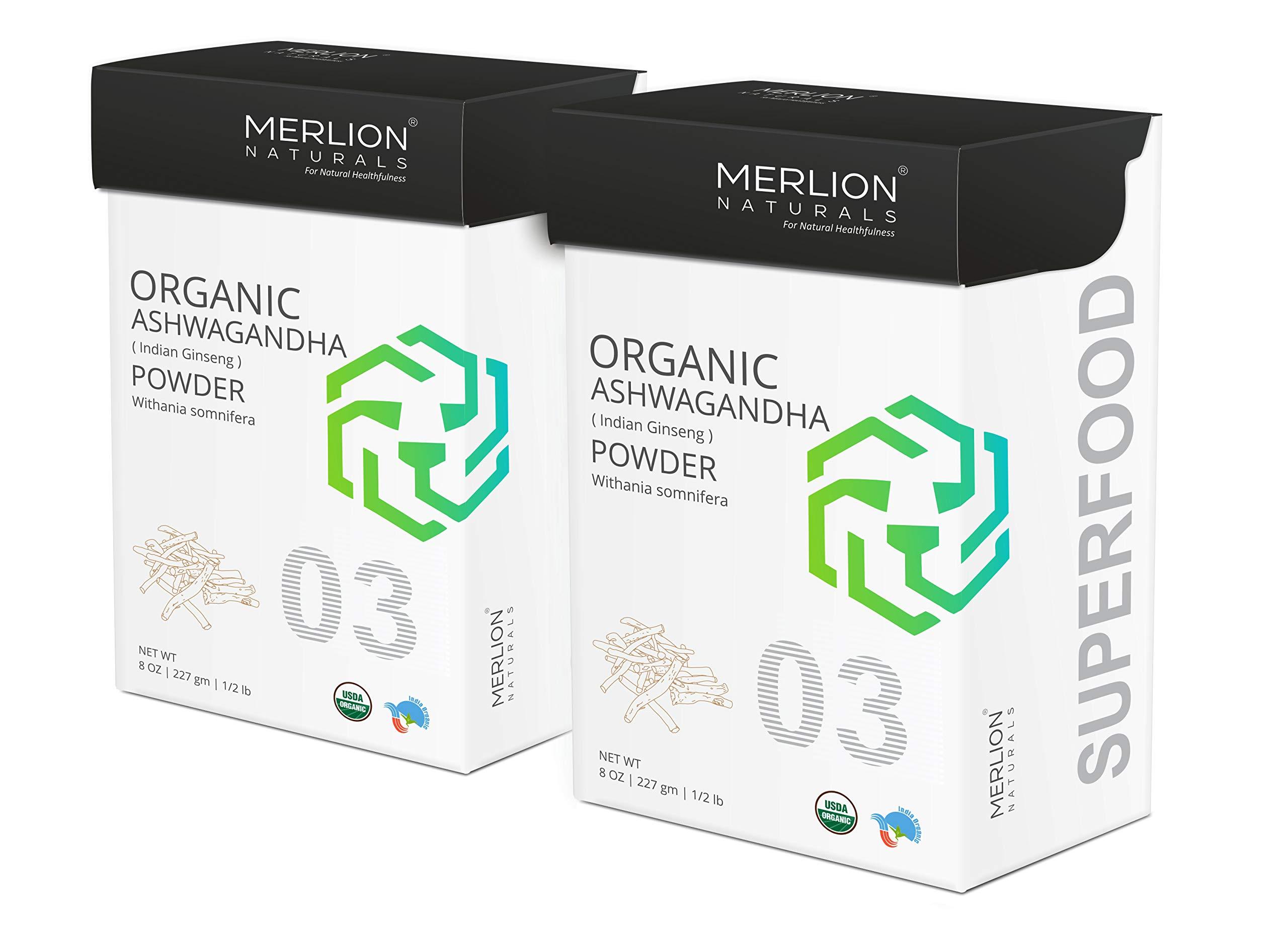 Organic Ashwagandha Root Powder by Merlion Naturals | Withania Somnifera/Indian Ginseng (16 OZ (2 Pack of 8 OZ))