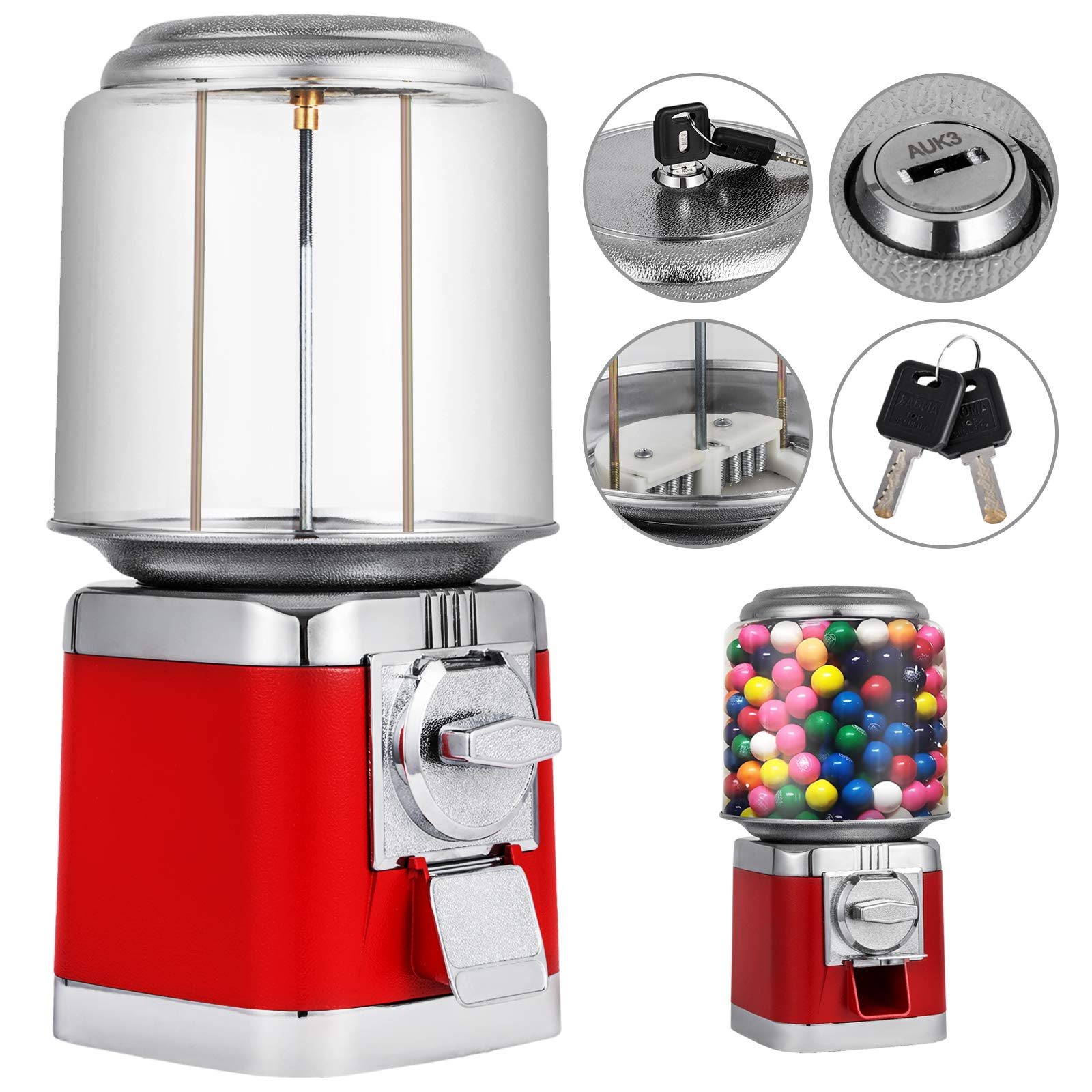 Mophorn Gumball Machine Durable Metal Body Gumball Dispenser Machine with Key Lock Big Gumball Machine Red Style Candy Vending Machine Perfect for Home Use, Gaming Stores