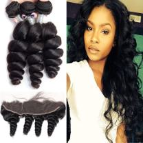 Maxine Hair Brazilian Virgin Hair with Frontal 3 Bundles Brazilian Loose Wave Human Hair with 13x4 Ear to Ear Pre Plucked Lace Frontal 10 12 12 Hair Weft with 10 Inch Frontal