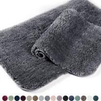 Walensee Shaggy 2 Piece Bath Rug Set, (20 x 32, 2 Pack Set, Dark Grey) Bathroom Rug Set Bath Mats for Bathroom Machine Wash/Dry Absorbent Bathroom Mats Set Non Slip Plush Rug Sets for Shower